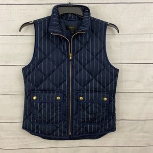 J Crew Quilted Vest Navy Pinstripe Small